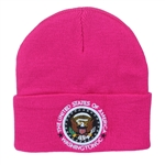 Rasberry Knit Beanie Hat with Seal of the President