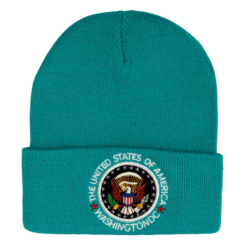 Turquoise Beanie Hat with Seal of the President, Washington DC