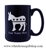 Democratic Party Personalized Coffee Mug, Etched in the USA, Donkey Symbol, Cobalt Blue mugs, dishwasher and microwave safe, large 15 ounce capacity, support a Democrat, from the original official White House Gift Shop since 1946 by President Truman.