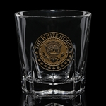 White House Glass Double Old Fashioned, On the Rocks Seal of President Glasses, set of 2, Gold Etch, Made in America, Lead Free heavy impressive glasses, matching decanter available, from Official White House Gift Shop Presidential Glass Collection.