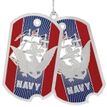 Navy Ornament, USA, Military ornaments NAVY , high quality silver polished finish, Made in America