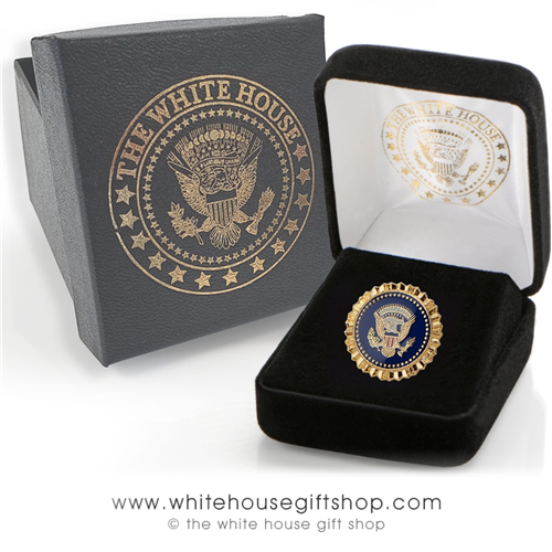 Scalloped Presidential Eagle Lapel Pin, Presidential Eagle Seal, Premium jewelry grade finishes, quality clutch, custom White House Gift box, Select your Package Type