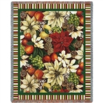 American Fruit and Flora Throw, Blanket, SEE Matching High Quality Pillow, 100% Cotton, Made in USA, SALE