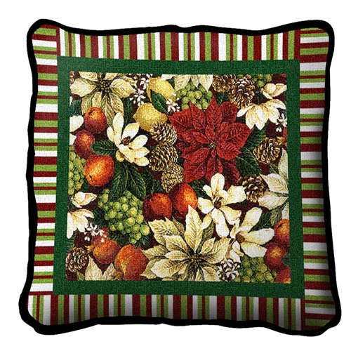 Made in America, Cotton Christmas Holiday Pillow, Cotton Cover, 17 inches by 17 inches by 7 inches deep, matches USA made throw
