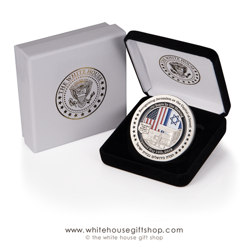 US Embassy Jerusalem, American Embassy Israel coin, Limited Edition 1500 coins, numbered, certificates, custom coin cases, commemorating relocation of Capital City and Embassy to Jerusalem, May 2018 by President Trump and Ambassador David Friedman.