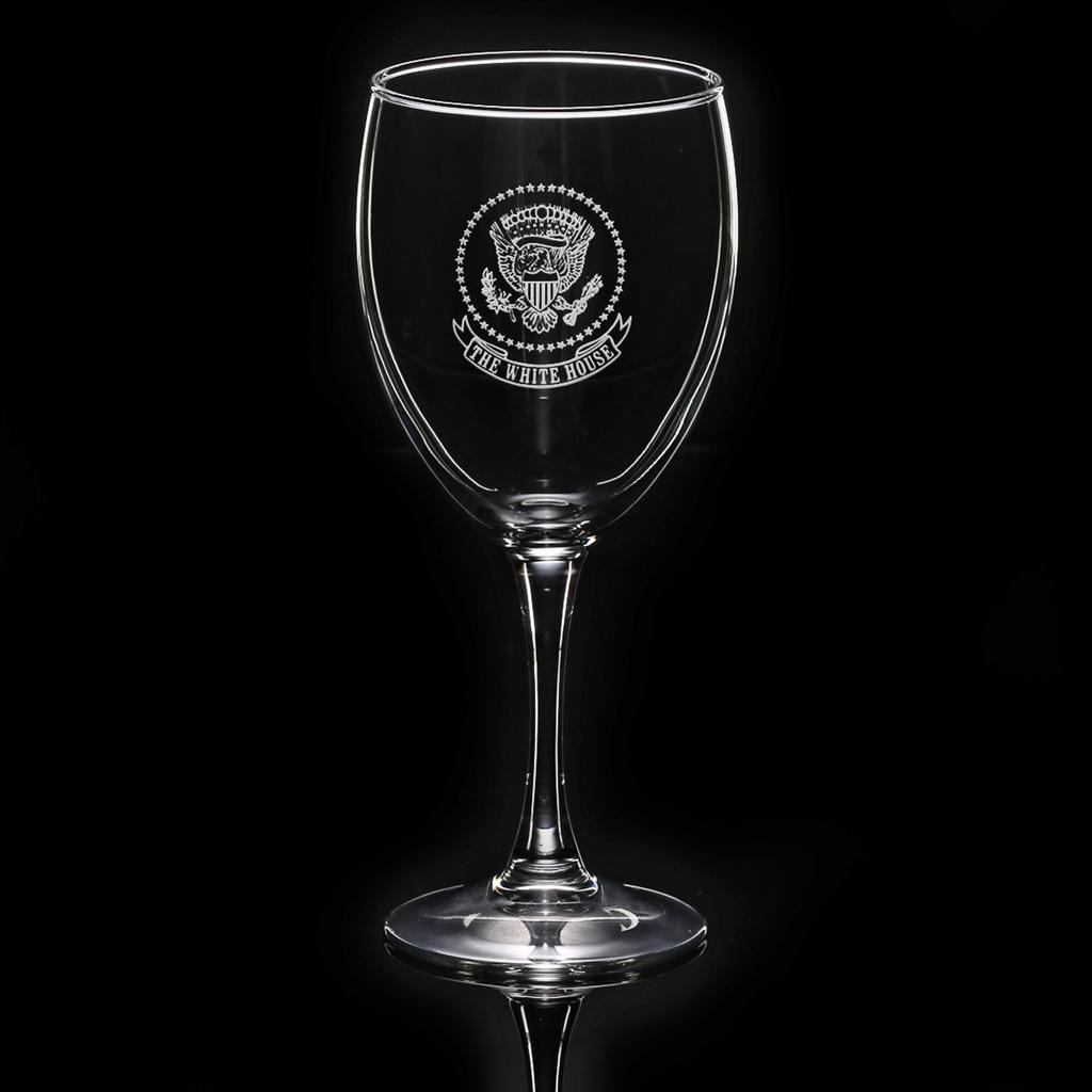 white house eagle stemmed wine glass