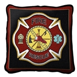 Firefighter Shield Pillow, made in the USA, Dry Clean Only