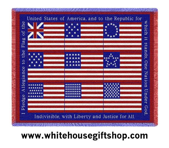 Blanket, American Flag Blanket, Throw, or Tapestry with Nine US ...