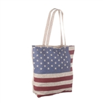 "Flag, American Tote Bag,  Fully Lined, Zippered,  17"" Long x 15"" Wide with Shoulder Carry, 3 interior pockets, Gift Box"