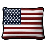 American Flag Pillow, 100% Woven Cotton Cover, See Matching Throws and Blankets,  made in the USA, from  Official White House Gift Shop, Washington D.C., a military veteran gift.