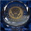 White House Crystal Etched Presidential Seal Desk Paperweight
