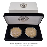 Air Force One Challenge Coins , Set in Custom White House Velvet, 2-coin Display Case with premium 2-piece outer presentation gift box, high quality jewelry grade gold coins, Presidential Seal and Air Force One featured from official White House Gift Shop