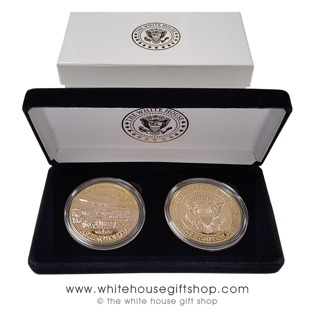Challenge Coins, Air Force One and Presidential Seal Coin, Premium Copper  Core, Jewelry Grade Gold Finishes, Front & Back of Coins Shown, in White