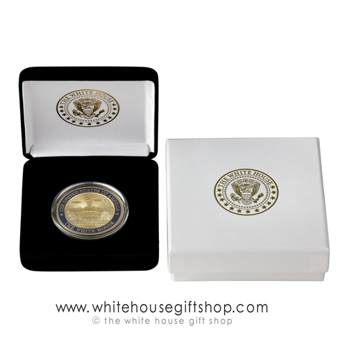 US CAPITOL Challenge Coins, Coin in custom velvet display case with premium 2-piece outer presentation gift box, White House President Seal imprint on both cases, high quality copper core coin with jewelry gold and blue enamel finishes, official gift