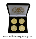"Coins, President Barack Obama & The Capitol Building, Presidential Seal on Reverse of Obama Coin, Great Seal on Reverse of Capitol, 4 Coin Set, Black Velvet Display and Presentation Case, Front & Reverse of Coins are Displayed, Gold Plated, 1.5"" Diameter"