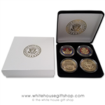 "Coins, The White House & United States Capitol Building, Great Seal, Presidential Seal, 4 Coin Set, Black Velvet Display and Presentation Case, Front & Reverse of Coins are Displayed, 1.5"" Diameter, Gold Plated & Red Enamels"