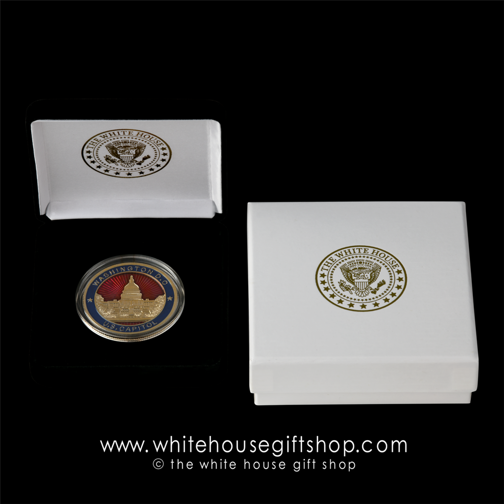 Challenge Coins, U S  Capitol Building, Premium Copper Core Coin will last  forever, Gold, Red, Blue Enamel, Velvet Display Case with 2-Piece Custom
