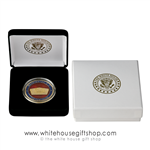 "Pentagon Challenge & Commemorative Coin, Gold Finish with Red Enamel, Custom Velvet Display Case, Outer Gift Box with White House Seal, 1.5"" Diameter. From Official White House Gift Shop & Store® Est. by President Order & Secret Secret Members"