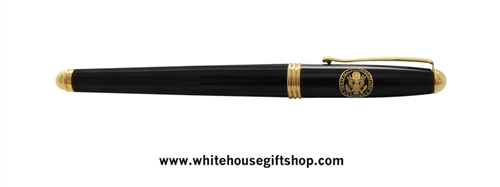 White House Seal premium Navy Blue lacquer 2- piece roller ball Pen, from Presidential Pen collection from trademarked, Official White House Gift Shop since 1946, started by the United States Secret Service and honoring President Trump and all Presidents.