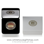 "White House Premium Quality Challenge Coins, 1.5"" diameter coin in custom velvet display case and custom 2-piece outer presentation gift box with gold imprinted White House Eagle Seal on lid of outer box and inside coin case, copper core, jewelry grade."
