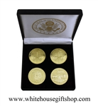 "Coins, World War II Memorial, Vietnam Memorial, & DC Monuments, Great Seal on Reverse of Coins, 4 Coin Set, Black Velvet Display and Presentation Case, Front of Coins are Displayed, Gold Plated, 1.5"" Diameter"
