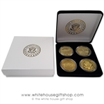 "Coins, World War II Memorial, Vietnam Memorial, & Pentagon, Great Seal on Reverse of Coins, 4 Coin Set, Black Velvet Display and Presentation Case, Front of Coins are Displayed, Gold Plated, 1.5"" Diameter"