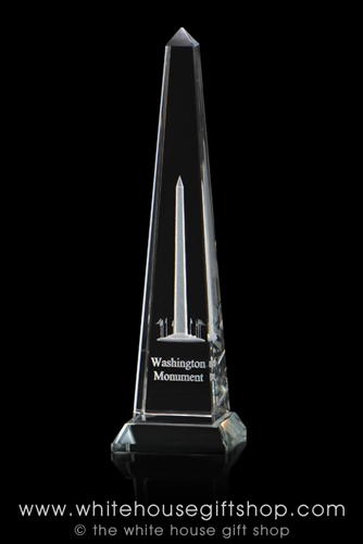 "Washington Monument Optical Glass Display and Paperweight, 7"" Tall, Intricate Eching Gift Boxed, White House Gift Shop Seal"