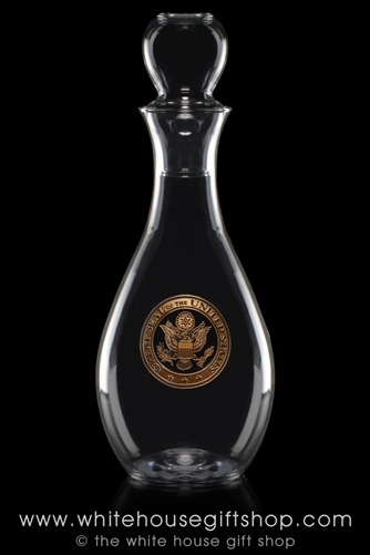 White House Glass Wine Decanter, featuring the Great Seal of the United States, gold etched, elegantly simple, from the original official White House Gift Shop Presidential Glass Collection, made and etched in the USA.