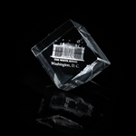 "The White House Hologram Optical Glass Display or Paperweight, Angled Base, 4"" standing, 2.5"" square"