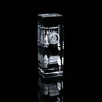 "Washington D.C. Monolith Panorama Hologram Optical Glass Display or Paperweight 2+ pounds,, 6"" x 2"" x 2"""