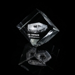 "The Pentagon Hologram Optical Glass Display or Paperweight, Angled Base, 4"" standing, 2.5"" square"
