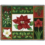 Holiday Greenery - Poinsettias Throw Blanket, SALE