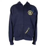 Presidential Seal zippered hoodie jacket, navy blue, embroidered, machine wash and dry, thick 100% acrylic