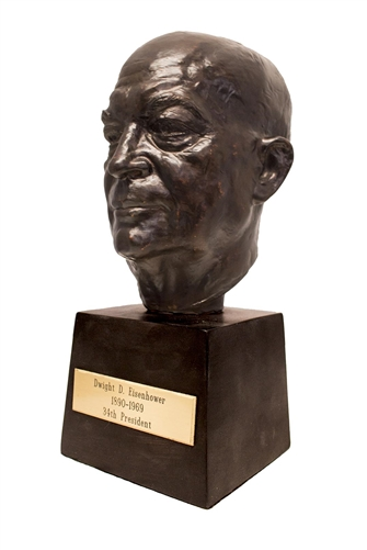 President Dwight D Eisenhower, IKE, Bronze Finish Bust, Statue 10.5 inches, engraved brass plate, Presidential Library quality