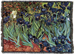 "Van Goghs ""Irises"", Throw, Blanket, Made in USA Quality Cotton, Machine Wash and Dry"