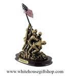 "Iwo Jima Memorial Statue, 8"" Tall, 4.5'' Wide, 5.5'' Base, White House Gift Shop Official Gold Seal on White Gift Box and Base of Statue, Packaged with Gift Tissue, Crinkle Shred, Molded Acrylic with Bronze Patina"
