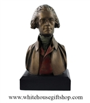 "Thomas Jefferson Bust, 3rd U.S. President of the United States, 6""x 3.5'', White House Gift Shop Official Gold Seal on Box and Base of Statue, Molded Acrylic with Bronze Patina.ALLOW 2 WEEKS"