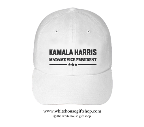 Madame Vice President Kamala Harris Hat in White, 46th President of the United States Joseph R. Biden, Official White House Gift Shop Est. 1946 by Secret Service Agents