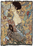 "Gustav Klimt ""Lady with a fan""Tapestry Throw, Blanket, Made in USA Quality Cotton, Machine Wash and Dry"