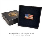 Premium quality, Lady Obama, made in USA American Flag pin, rectangle shape, 3/7 inch by 3/8 inch, gold and enamel finishes, fine clasping clutch, in custom White House jewelry box from original official White House Gift Shop.