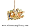 Ornament, LOVE, 24KT Gold Finish, 3D, Enamels, Made by Official Makers, USA, White House Gift Shop Seal Box, WHF