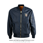 President Trump, Presidents, Flight Jacket, Bomber Jackets,White House Presidential Eagle Seal, embroidered, navy blue, from the official White House Gift Shop Est. by order of President and members of U.S. Secret Service