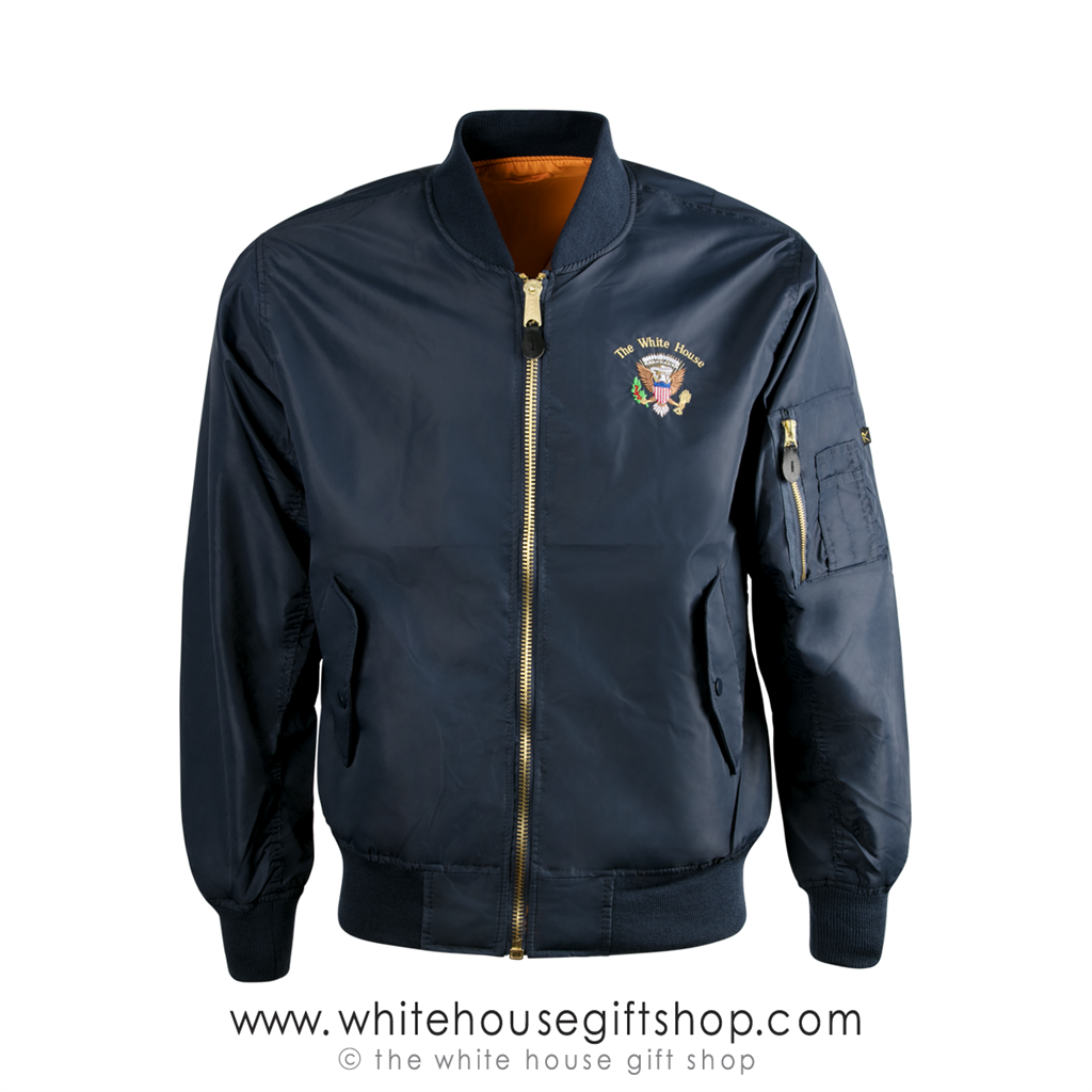 e27fd0f9a SUMMER WEIGHT Flight Jackets, White House Presidential Eagle Seal MA-1  Bomber Style, Classic Navy Blue, Reversible Orange Lining, Jacket features  Same ...