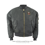 Presidential Bomber,  MA-1 Flight Jacket, Reversible Orange, White House Eagle Seal, Navy Blue, Embroidered in USA