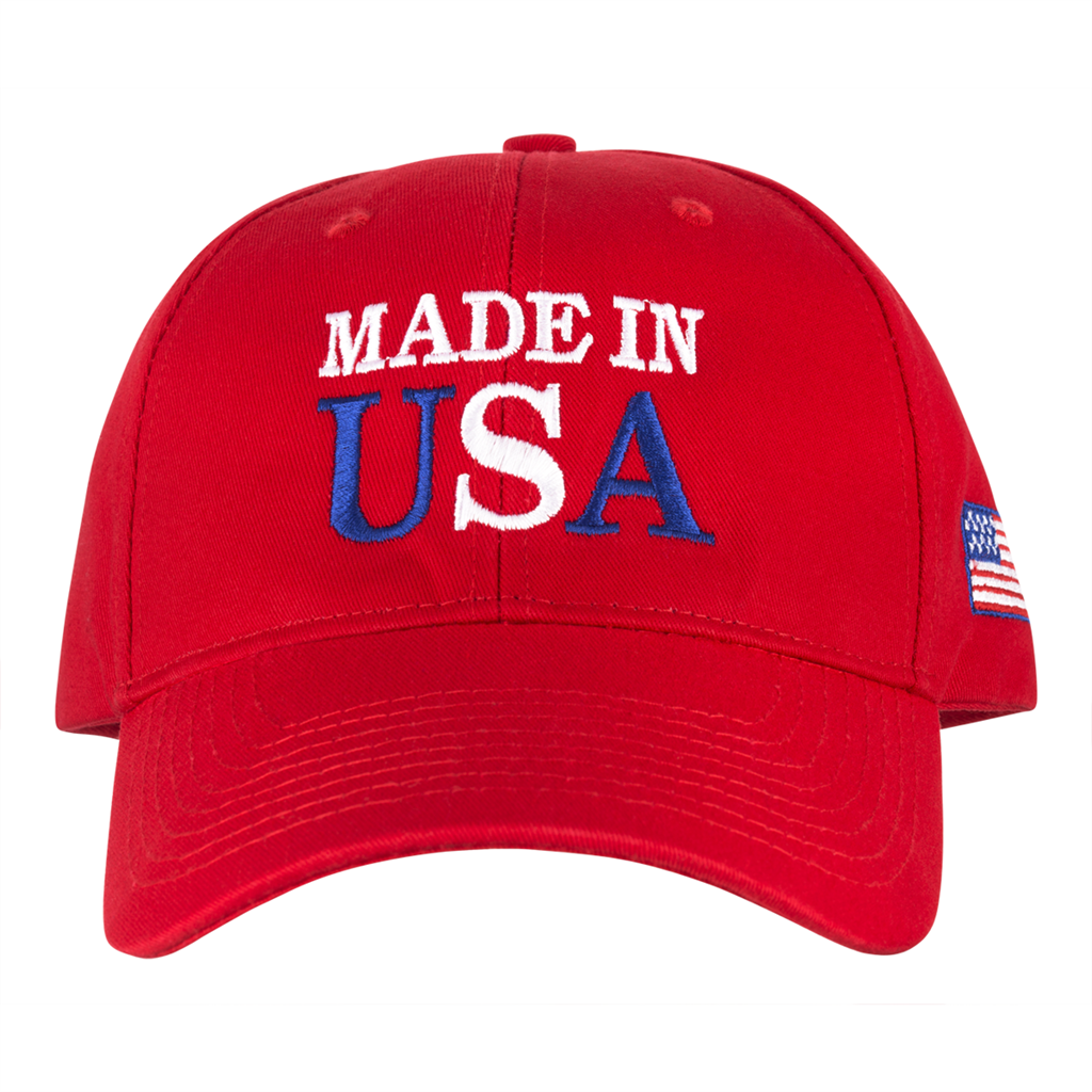 Made in USA Hat, 100% Made in America, All Cotton, Custom Embroidered with  flag on side, Adjustable tab in back