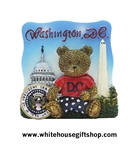 Magnets, Washinton D.C. Bear Magnet, President Seal, Washington Monument, U.S. Capitol Building, Ceramic & Acrylic, Pastels, Memorable Group Gift, Cheerful for All Ages