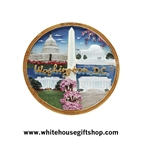 Magnet, Ceramic, Washington D.C. Cherry Blossom Festival with The White House, Lincoln Memorial, Washington Monument, Jefferson Memorial, U.S. Capitol, Washington Monument, Gold Rim