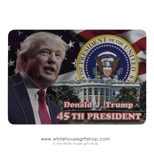 "American Flag with President Donald J. Trump, Seal, and The White House, 2 3/8"" x 3 3/8"", From The White House Gift Shop"