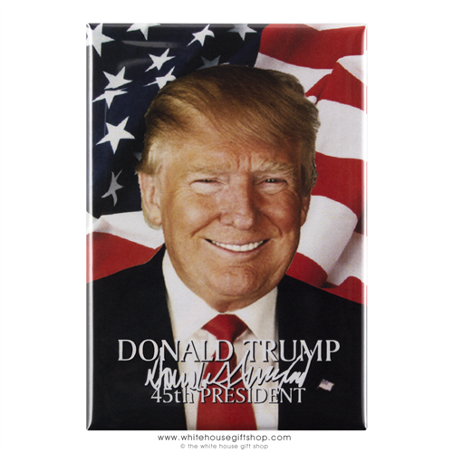 "President Donald J. Trump Magnet with His Classic Red Tie, Seal and American Flag, 2"" x 3"", From The White House Gift Shop"