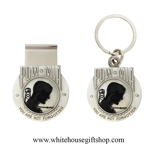HERITAGE PEWTER POW MIA KEYCHAIN & MONEY CLIP SET, HONORING OUR MOST HONORED BUDDIES OF ALL WARS & CONFLICTS, Made in the USA